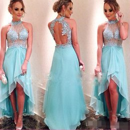 High Neck Prom Dresses Hi-Lo Ball Gowns 2015 Light Sky Blue Wedding Party Dresses Backless High Low Dresses Evening Wear with Beaded Lace