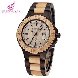 Wholesale-Packages mailed in 2015 new brand personality fashion watches the gear shape wood table ring calendar watch wholesale