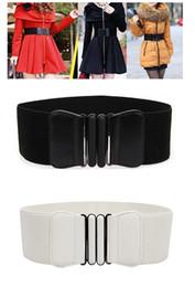 Wholesale Hot Sales Women Lady Elastic Faux Leather Buckle Waist Wide Belts Stretch Waistband Cinch fx296