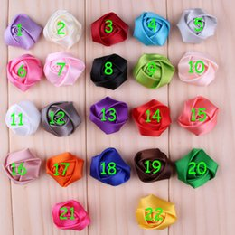 (60pcs lot) Mini Satin Ribbon Rose Flowers Artificial Flatback Rosebud Flower Fabric Flowers Hair Accessories Headbands Wedding Flower
