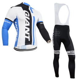 Wholesale-2015 Newest Giant Blue White Winter Thermal Fleece Cycling Clothing Cycling Set Winter Fleece Long Cycling Jersey And Bib Pants