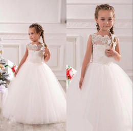 White Ivory First Communion Dresses Cute Little Girls pageant Dresses Tulle Ball Gown Floor Length Flower Girls Dresses BO9379