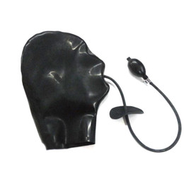 Wholesale Best Nature Latex Fetish Hood Sexy Hood Sex Products Latex Rubber Hood with Mouth Gag Sex Game Products for Women Men LBH
