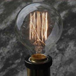 Wholesale Edison tungsten filament vintage antique Arte Lights Bulbs Reproduction light G80 E26 E27 V V Halogen Bulbs order lt no