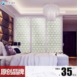 Wholesale Amalfi platinum crystal glass mosaic tile puzzle backdrop TV wall stickers living room mirror parquet B50609