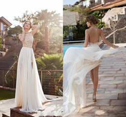 In Stock Sexy Soft New Design Prom Evening Gown Party Dress Applique Split Side Side Floor Length Open Back Crystal Beads Prom Dresses
