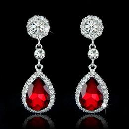 Wholesale Drop Earrings Brand Fashion Crystal Jewelry Big Platinum Plated Dangle Water Drop Earrings For Women Dangle Chandelier Ear Rings Ear Drops