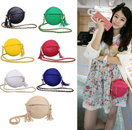 Women Round Style bags messenger bag lady shoulder bags mini tassel chain bag pu leather handbags coin purse for iphone 6 Plus 7