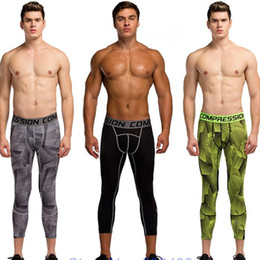 Wholesale Mens Compression Pants Length Sports Joggers Running Athlete Tights Basketball Fitness Gym Skinny Leggings Calf Trousers