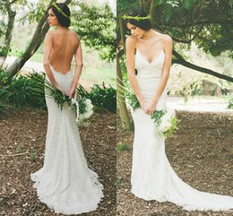 Cheap Katie May New 2015 Sexy Backless Wedding Dresses Lace Spaghetti Sheath Garden Beach Sheer Summer Bridal Party Gowns Dress For Bride