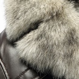 Winter fashion clothing trench coat black genuiner italian leather men's jacket with a wolf fur