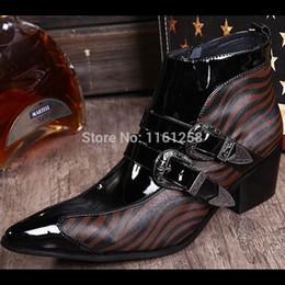 Aumento de la altura del tobillo de los zapatos de alta hombres en venta-Botas de tacón alto para hombre Botas de hombre de estilo coreano británico altura de los zapatos de hombre aumentada Botas de cuero genuino de HorseHair genuino