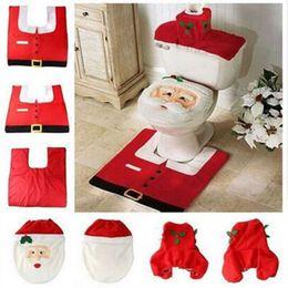 Wholesale Hot Fancy Santa Toilet Seat Cover and Rug Bathroom Set Contour Rug Christmas Decorations For Natal Navidad Decoracion