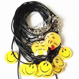 Hot Sale Handmade Smile Face Emoji Pendant Necklace Bracelet Cartoon PU Leather chocker Yellow Smile Face Pendant Necklace Cute Jewelry