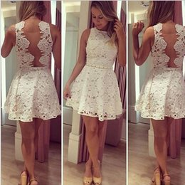 Top Women Dress Summer Style Party Sleeveless Pleated Dress Casual A Line Mini Lace Hollow Out Crochet Backless Skater Dress White SV014401
