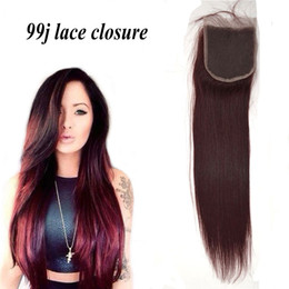 Clearance Sale!Lace Closure Accept Return Straight Virgin Peruvian lace closure #99j red color Hair Extension 4*4 G-EASY