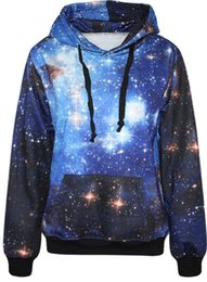 Autumn Winter Galaxy Print Punk Women Hoodies With Pocket And Hat Digital Cartoon Print Sweatshirt Sky