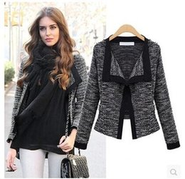 Wholesale European And American Women s Spring New White Black Camel Hair Fashion Loose Long Sleeved Cardigan Jacket Short Coat Warm Jacket B