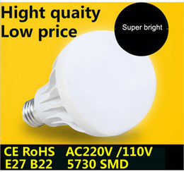 Super bright SMD 5730 E27 B22 Led Bulb 3W 5W 7W 9W 12W 15W LED lamp Light 220V 110V Lamps plastic LED bulb