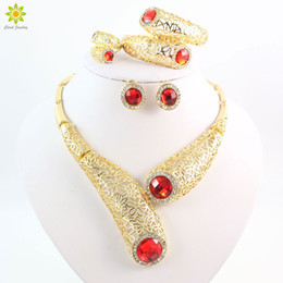 New Design Hot selling Gold Plated Red Crystal Necklace Wedding Jewelry Set Bridal Party Fashion Jewelry