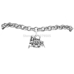 Wholesale 50pcs New Arrival Antique Silver Plated Engraved Letter Cheer Leader and Mom Megaphone Charms Bracelets