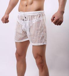 Wholesale Fashion Mens see through Holes net mesh gauze Sheer hollow home causal beach board home shorts running sport gay man boardshorts
