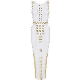 Wholesale- Top Quality New Arrival white sleeveless studded beaded long maxi rayon Bandage Dress Celebrity dress kim kardashian dress