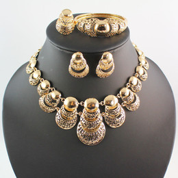 Fashion Women 18K Gold Plated Africa Dubai Wedding Party Multilayer Necklace Earrings Bracelet Ring Jewelry Set