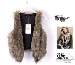 Wholesale European Fashion Faux Fur Woman Vest Coat V Neck Sleeveless Short Jacket Tank Tops Autumn winter Plus Size XL XXL XXXL Outerwear Vests
