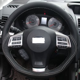 Wholesale Cover Subaru Forester - XuJi Black Genuine Leather Steering Wheel Cover for Subaru Forester Legacy Outback XV 2013 2014 2015
