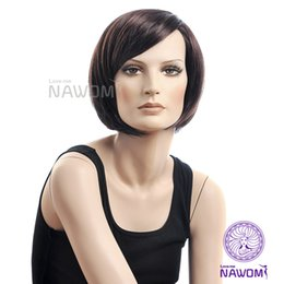 Wholesale Cheap Stylish Wigs - Free Shipping Cheap oblique bangs wigs handsome woman with short straight pear head wig new temperament stylish brown wigs