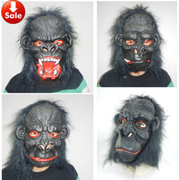 Cosplay Black chimpanzee Mask Creepy Monkey Latex Mask Horror Halloween Mask rubber animal mask Hip Hop Dance theater Masquerade Costume