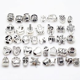 Wholesale New Vintage Big Hole Beads Fit Pandora Charms Antique Silver Metal Zinc Alloy Mixed DIY Beads Charm for Bracelets B8001