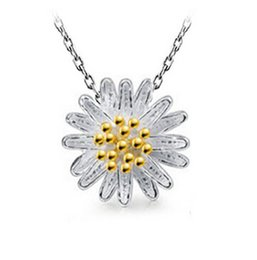 30% 925 Sterling Silver Daisy Flower Pendant White Copper 3 layer White Gold Plating Sunflower Necklace