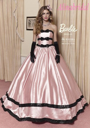 Wholesale Lovely Pink Southern Belle Quinceanera Dresses with Big Skirt Black Bowknot Ball Gown Sweet Dress Girls Years Party Prom Pageant Gowns