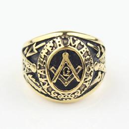 Wholesale Freemason Men s Gold Tone Master Free Mason Stainless Steel Masonic Ring