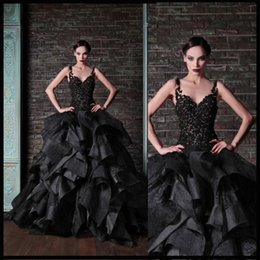Rami Kadi Black Ball Gown Prom Dresses Tiered Ruffles Vintage Lace Spaghetti Puffy Prom Dresses Low Back Pageant Party Gowns