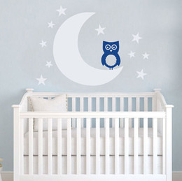 Wholesale Moon and Stars OWL Nursery Wall Decal Art Sticker for Baby Room Decor