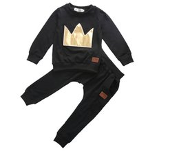 Wholesale Toddler Baby Boy Girls Crown Tops T shirt Leggings Outfits Set Tracksuit Clothes