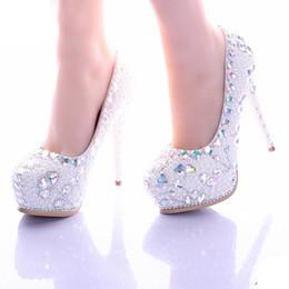 Perles de diamant hauts talons en Ligne-White Pearl chaussures à talons hauts plateforme Cristal chaussures de mariée mariage strass diamant femmes Formal Shoes Shoes robe de bal