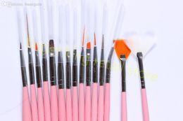 Wholesale-NEW! 15PCS LOT Pink Nail Brush Brushes Set Nail Paint Design Pen Tools for False Nail Design Painting Pen 3D Art Tool #X179