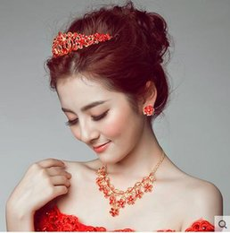 Wholesale In Stock Women Wedding Head Accessories Red Rhinestones Beaded Brida Tiaras Hair Wear Vestido Custom Made Bride Head Wear SHJ