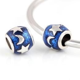 Blue sky Moon Star beads DIY European Lampwork Beads Spacer Alloy Chunky Bead Charm Pendant Fit For Pandora Charms Bracelet