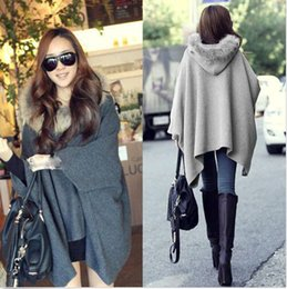 Wholesale 2015 New Lady Winter Warm Cloak Coat Casual Womens Cape Black Batwing Wool Poncho Jacket DH04
