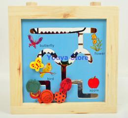 Cajas de madera relojes en Línea-el envío al por mayor-Libre 5 in1 grande alrededor de la estructura del grano del bebé Ploungboys múltiples funciones de madera caja de reloj de la Educación