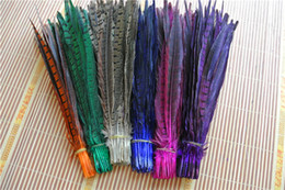 Wholesale 100pcs 12-14inch Hot pink fuchsia black orange red yellow royal blue turquoise lime green purple ringneck pheasant tail feather