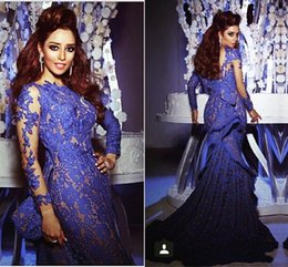 Royal Blue Lace Dresses Evening Wear Custom Made Draped Ruffles Mermaid Evening Dresses Sleeves Myriam Fares Celebrity Formal Gowns 2015