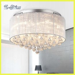 Wholesale Crystal Drum Pendant Lights - Flushmount Crystal Drum Shade Crystal Ceiling Chandelier Lustres Crystal Pendant Chandelier Light Fixture Home Decor Luminaire order<$18no t