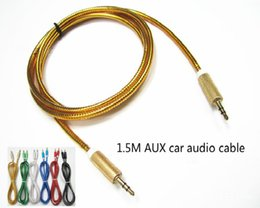 Wholesale aux cable cm ft round metal fabric head car Aux Audio cable car line MM Male to Male Charger Cable foil Knit Woven Audio Cables