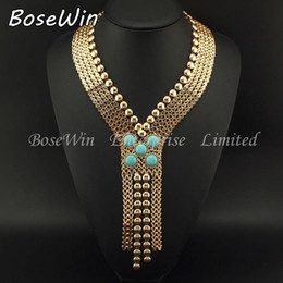 Wholesale New Ancient Egypt Style Statement Jewelry Fashion Chunky Chain Welding Turquoise Long Necklaces Women Evening Dress CE2189